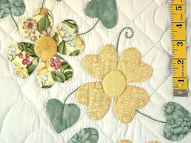 Yellow and Green Hearts Bouquet Quilt Photo 7