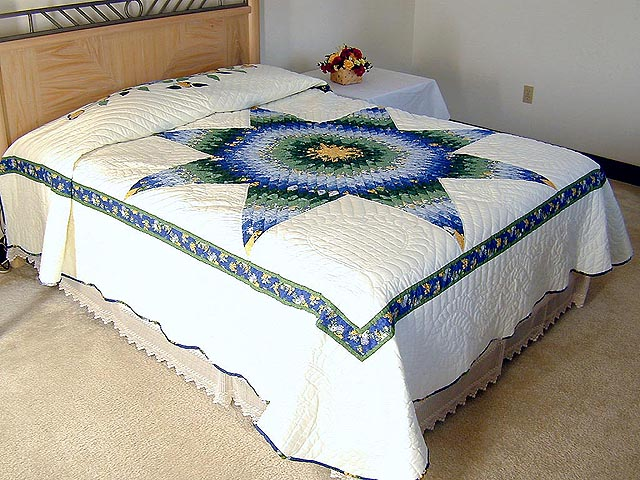 Blue Yellow  and Green Lone Star Country Bride Quilt Photo 1