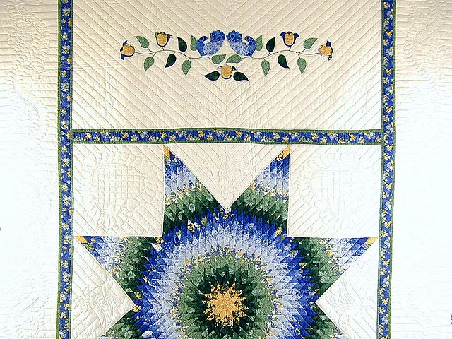Blue Yellow  and Green Lone Star Country Bride Quilt Photo 2