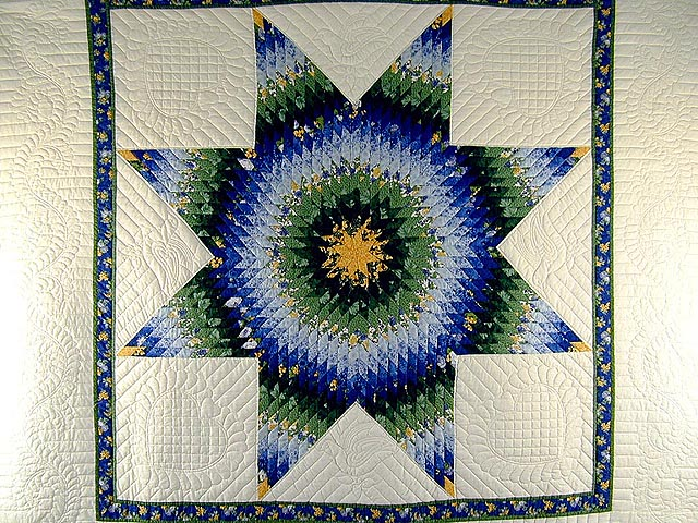 Blue Yellow  and Green Lone Star Country Bride Quilt Photo 3