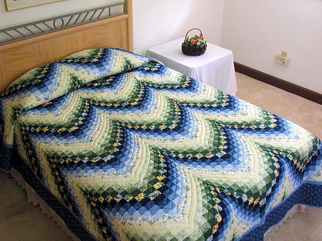 Blue Yellow and Green Bargello Quilt Photo 1