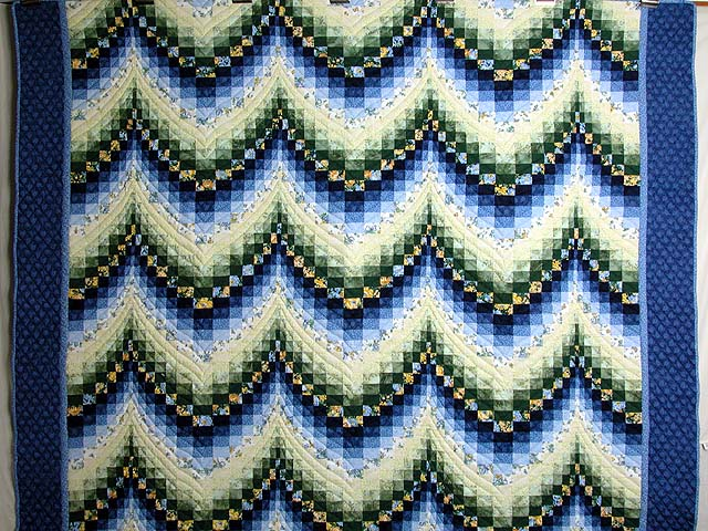 Blue Yellow and Green Bargello Quilt Photo 2