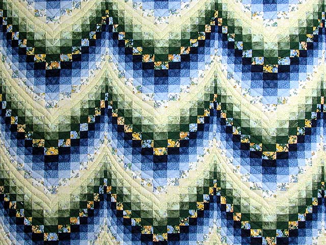 Blue Yellow and Green Bargello Quilt Photo 3