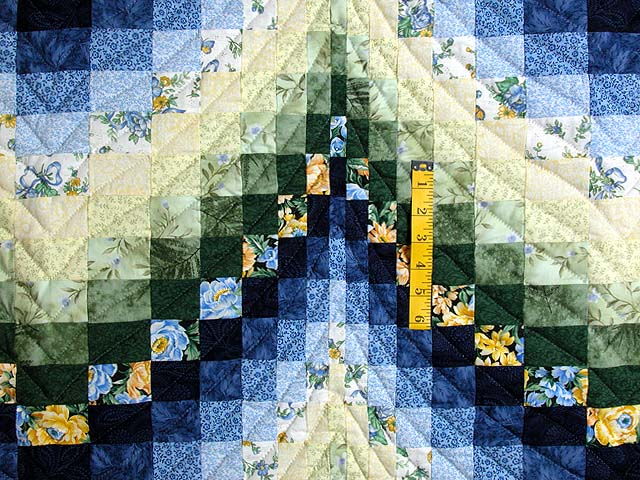 Blue Yellow and Green Bargello Quilt Photo 4