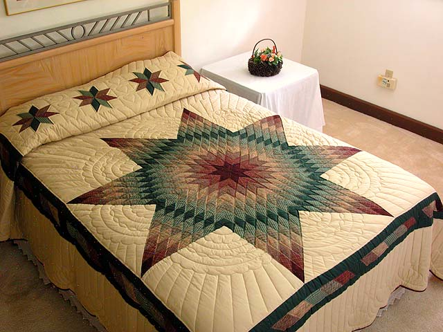 Earth-tone Plaid Lone Star Quilt Photo 1