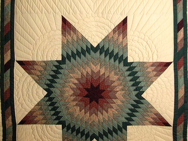 Earth-tone Plaid Lone Star Quilt Photo 3