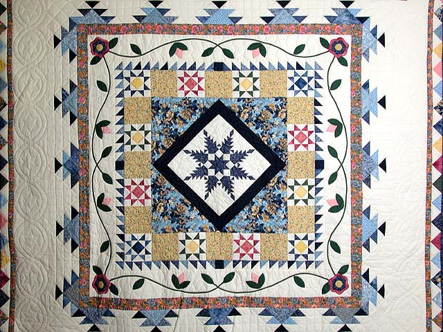 Navy And Pastel Feathered Edge Star Medallion Quilt Photo 3