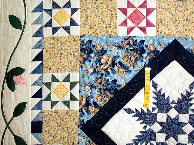 Navy and Pastel Feathered Edge Star Medallion Quilt Photo 4