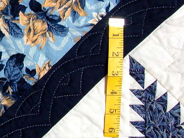 Navy and Pastel Feathered Edge Star Medallion Quilt Photo 5