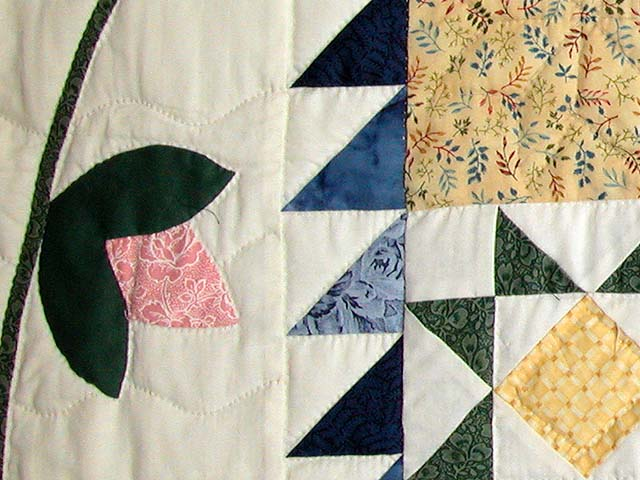 Navy and Pastel Feathered Edge Star Medallion Quilt Photo 6
