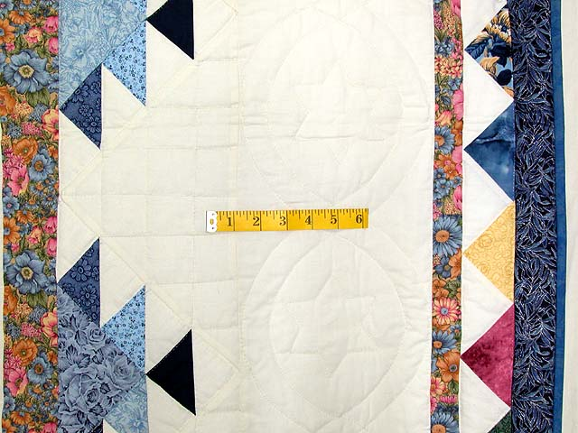 Navy and Pastel Feathered Edge Star Medallion Quilt Photo 7