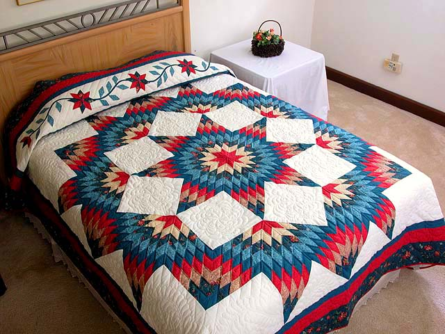 Teal Blue Coral Red and Tan Broken Star Quilt Photo 1