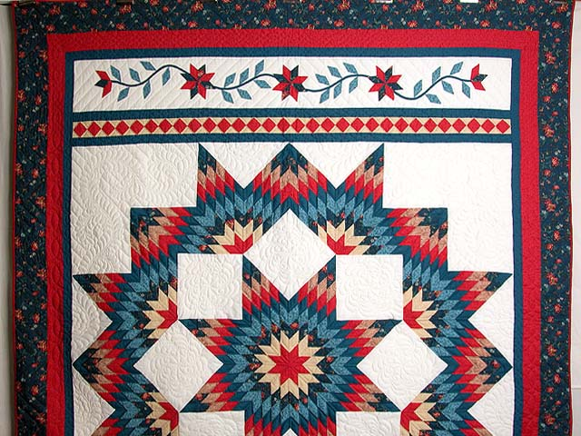 Teal Blue Coral Red and Tan Broken Star Quilt Photo 2