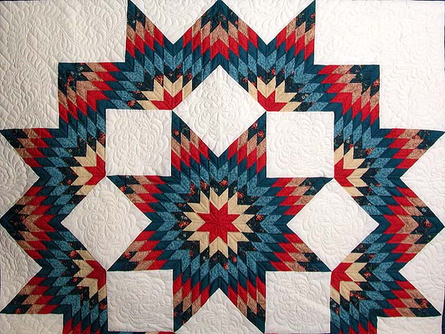 Teal Blue Coral Red and Tan Broken Star Quilt Photo 3