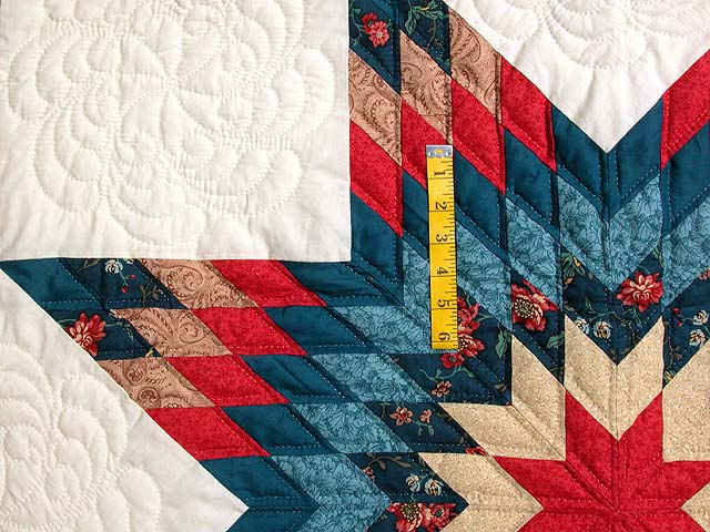 Teal Blue Coral Red and Tan Broken Star Quilt Photo 4
