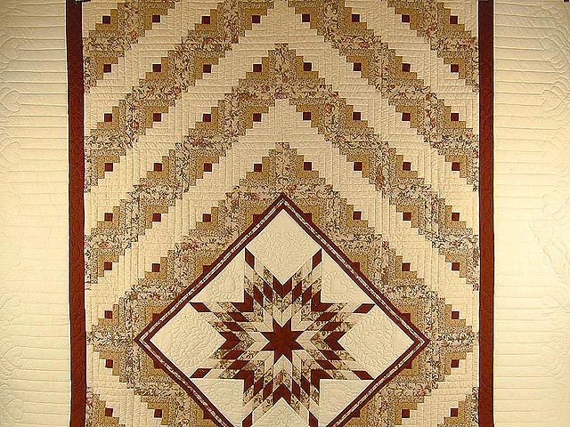 Brick Red and Cream Lone Star Log Cabin Quilt Photo 2