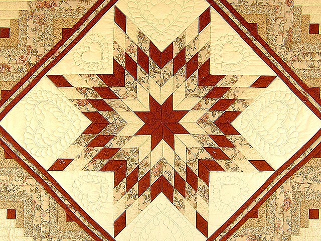 Brick Red and Cream Lone Star Log Cabin Quilt Photo 4