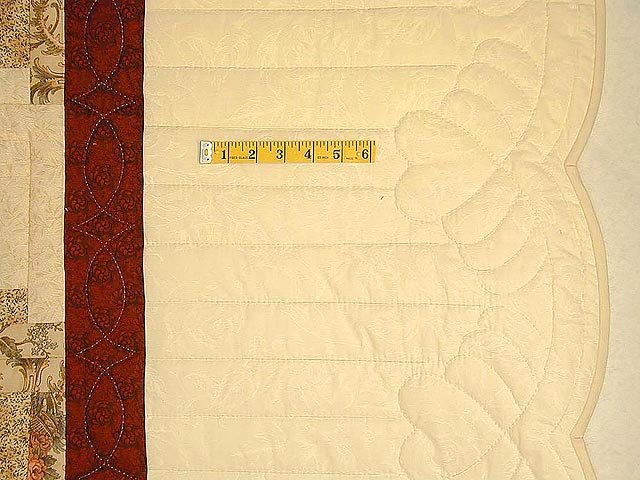 Brick Red and Cream Lone Star Log Cabin Quilt Photo 5