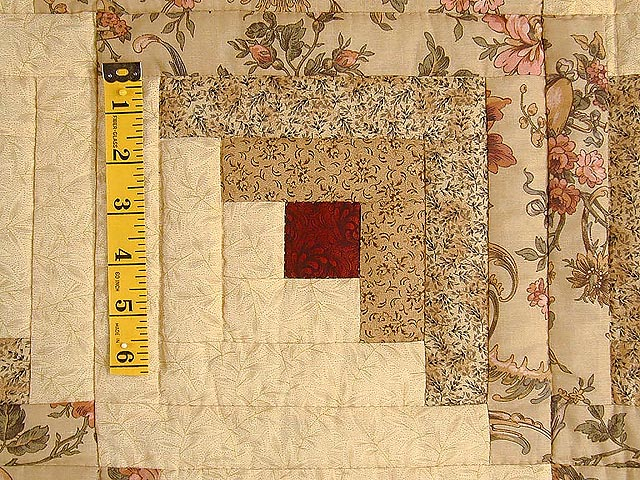 Brick Red and Cream Lone Star Log Cabin Quilt Photo 6