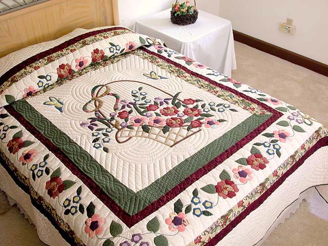Burgundy Sage and Multicolor Garden Basket Quilt Photo 1