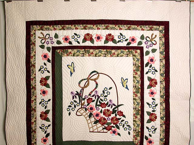 Burgundy Sage and Multicolor Garden Basket Quilt Photo 2