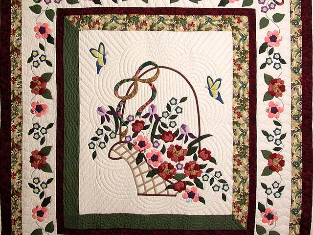 Burgundy Sage and Multicolor Garden Basket Quilt Photo 3