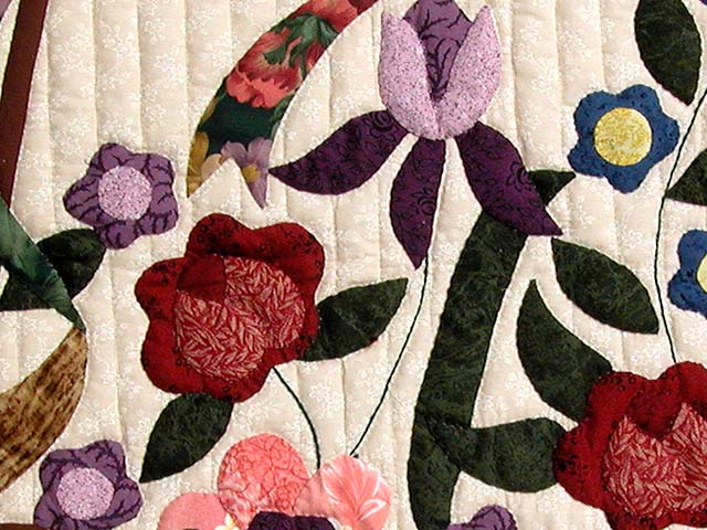 Burgundy Sage and Multicolor Garden Basket Quilt Photo 6