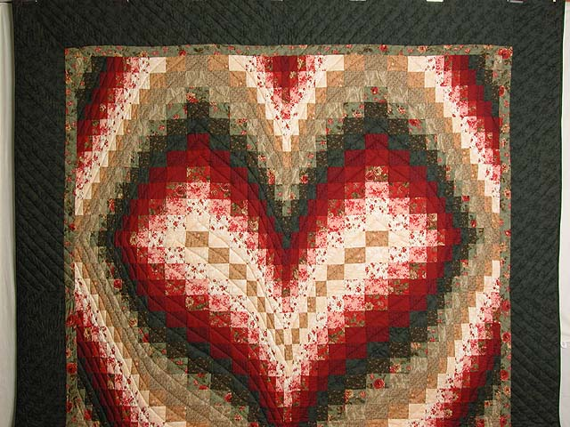 Dark Green Brick and Tan Bargello Heart Quilt Photo 2