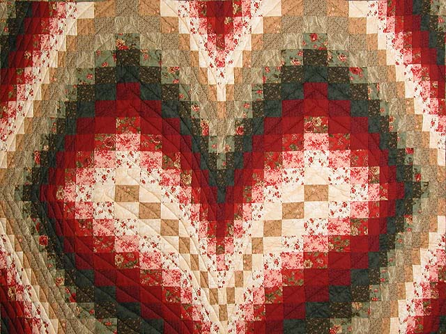 Dark Green Brick and Tan Bargello Heart Quilt Photo 3