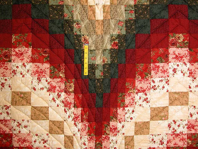 Dark Green Brick and Tan Bargello Heart Quilt Photo 4