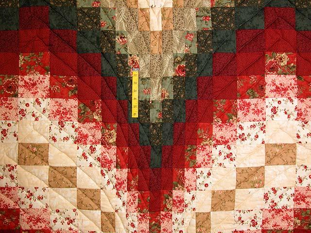 Dark Green Brick and Tan Bargello Heart Quilt Photo 4