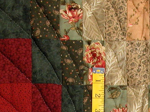 Dark Green Brick and Tan Bargello Heart Quilt Photo 5