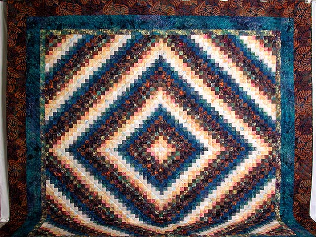 King Hand Painted Navy and Teal Color Splash Quilt Photo 2