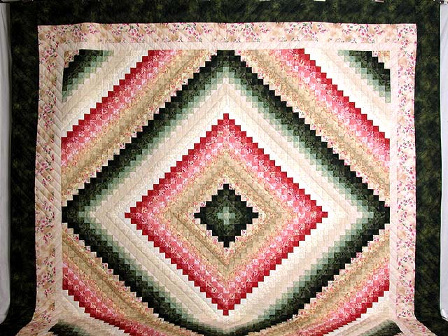 King Green Tan Coral and Rose Color Splash Quilt Photo 2