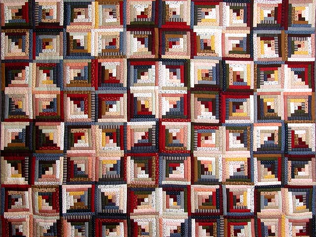 King Red Navy and Multicolor Log Cabin Quilt Photo 3