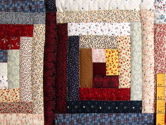 King Red Navy and Multicolor Log Cabin Quilt Photo 5
