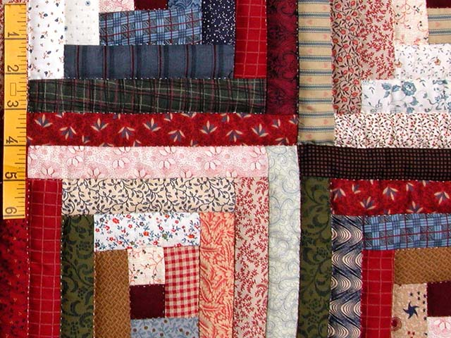 King Red Navy and Multicolor Log Cabin Quilt Photo 6