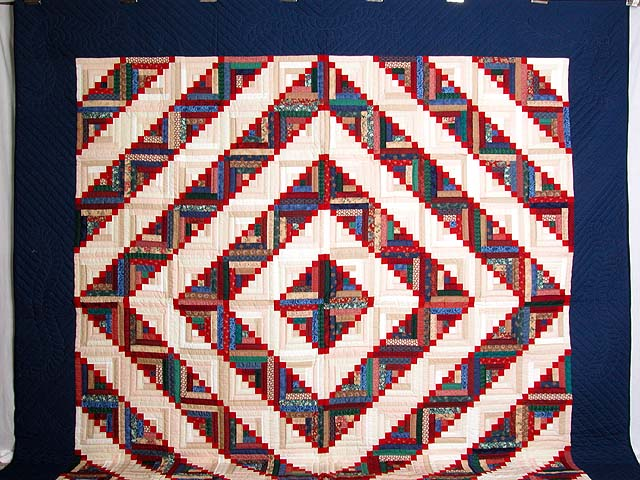 King Navy Red and Multicolor Stepping Stone Log Cabin Quilt Photo 2