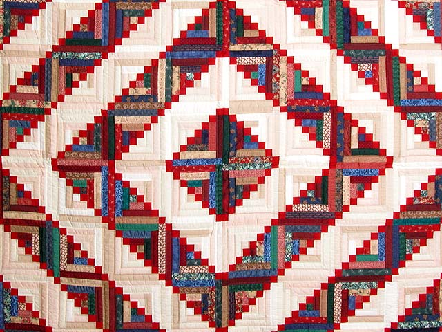 King Navy Red and Multicolor Stepping Stone Log Cabin Quilt Photo 3