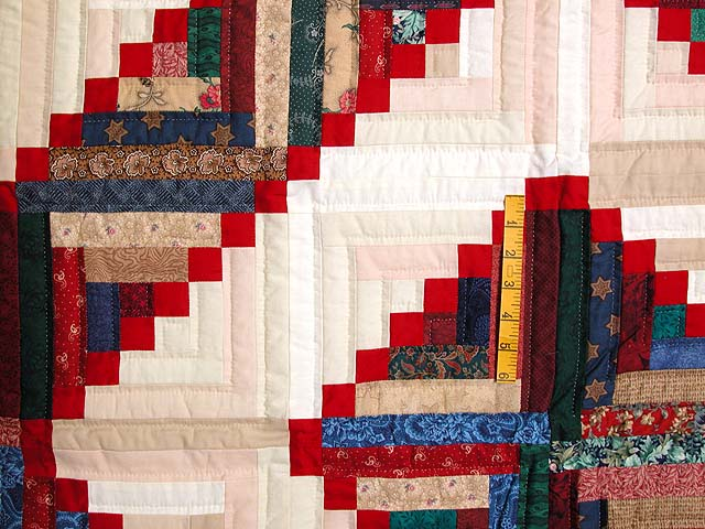 King Navy Red and Multicolor Stepping Stone Log Cabin Quilt Photo 4