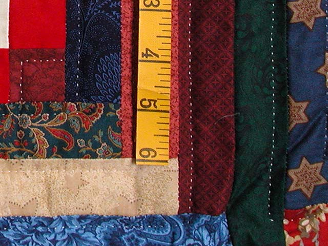 King Navy Red and Multicolor Stepping Stone Log Cabin Quilt Photo 5