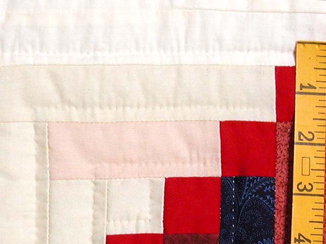 King Navy Red and Multicolor Stepping Stone Log Cabin Quilt Photo 6