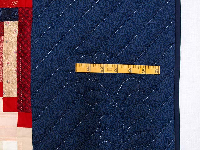 King Navy Red and Multicolor Stepping Stone Log Cabin Quilt Photo 7