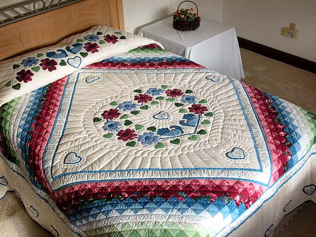 King Blue and Rose Sunshine Sweetheart Quilt Photo 1