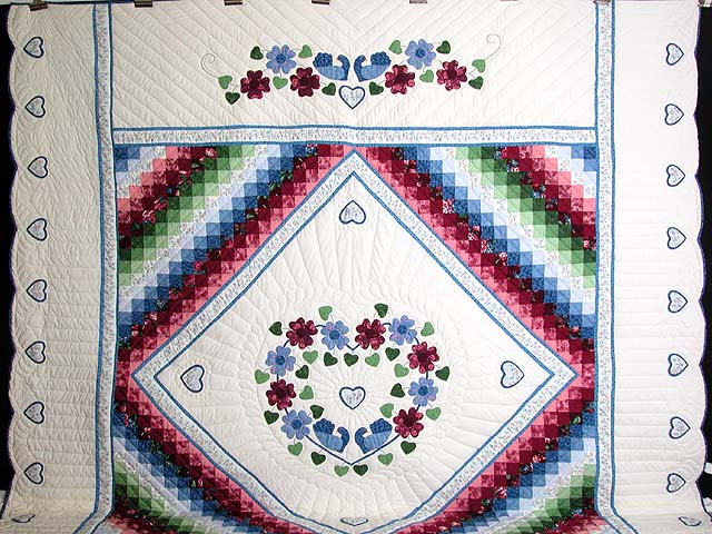 King Blue and Rose Sunshine Sweetheart Quilt Photo 2