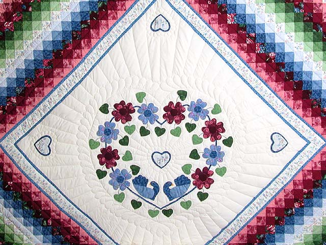 King Blue and Rose Sunshine Sweetheart Quilt Photo 3