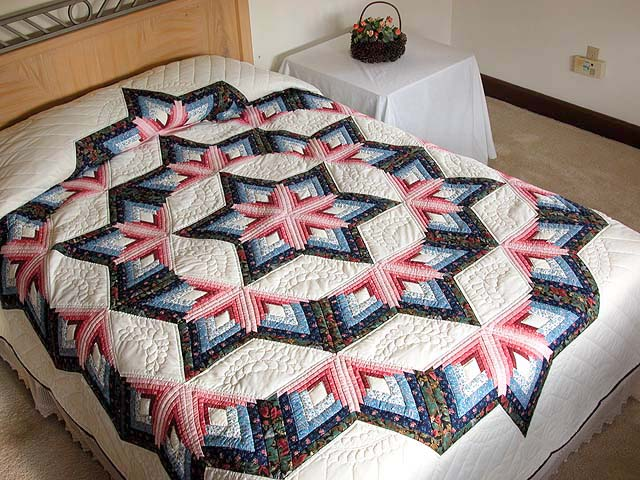 Blue and Rose Triple Diamond Star Quilt Photo 1