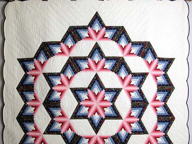 Blue and Rose Triple Diamond Star Quilt Photo 2