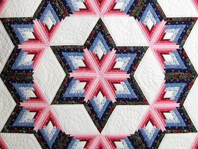 Blue and Rose Triple Diamond Star Quilt Photo 3