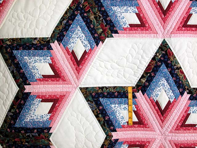Blue and Rose Triple Diamond Star Quilt Photo 4